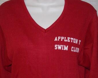 Vintage 60s dark red pullover sweater Appleton Y Swim Club long sleeve v neck
