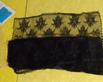 vintage 100% dupont nylon mantilla Spanish lace scarf shawl black