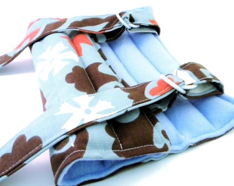 Flax Rice Heating Pad for Knee Arm Elbow Ankle, Microwave Heat Pack with straps, Hot or Cold Wrap Scented or Unscented, blue brown