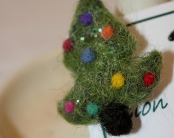 Sheep, Needle Felted Christmas Tree Pin, Felted Christmas Tree Brooch, Felted Jewelry # 63