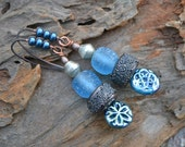 Icey Blue, Glass Headpins, Electroformed Glass Beads and Recycled Glass  Earrings