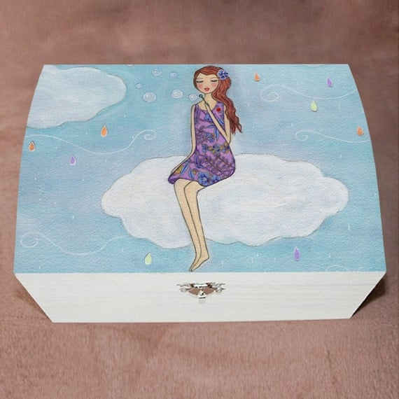 Large wooden jewelry box trinket box girl blowing by sascalia for Girls large jewelry box