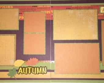 AUTUMN 12 x 12 premade scrapbook layout - Autumn Leaves
