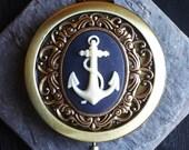 Blue anchor cameo mirror, antique brass compact mirror, nautical mirror, cameo mirror, bridesmaid gift, unique Christmas gift ideas