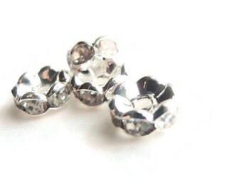 12 (8mm) Clear AAA Rhinestone Spacer Beads, Jewelry making Bead Supply, Wavy, Silver Plated Brass , 8mm Diameter
