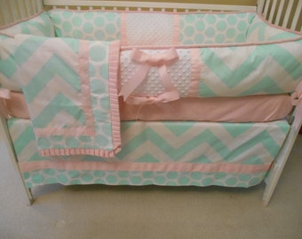 Mint Green and Pink Baby Bedding Set 4 Piece Set