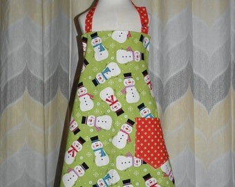 Christmas Snowman Kids size Full Kitchen Apron - FREE or PRIORITY Shipping