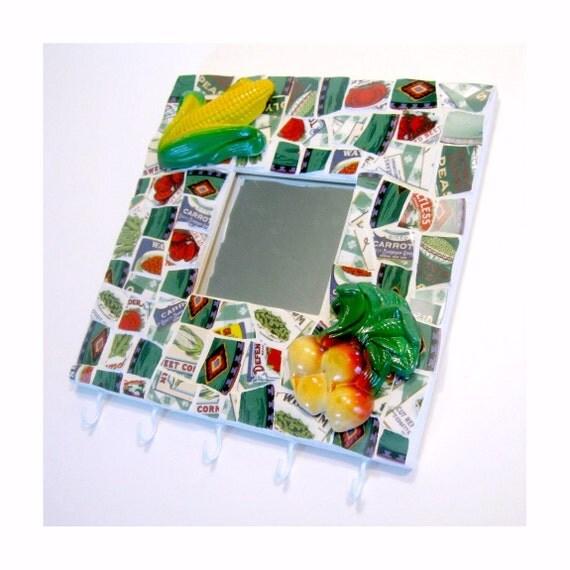 Mosaic Farm Theme Hooks and Mirror, Mosaic Kitchen Towel Pot Holder Rack, Repurposed Mosaic Pot Holder, Mosaic Garden Hooks Mirror Hanging