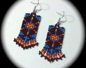 Original Design Native American Style Handwoven Long Dangle Seed Bead Earrings Fashion Earrings native bohemian ethnic southwestern chic