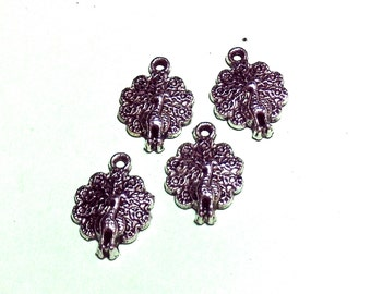 Small Peacock Charms  Pendants Crafting DIY Necklaces Bracelets Earrings Key Chains Zipper Pulls Native Ethnic Boho Cottage Chic Fantasy