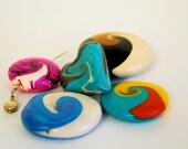 Polymer Clay Beads - Handmade - Swirls of Fun - One of a Kind - Pendants - DIY - Liquidation Sale