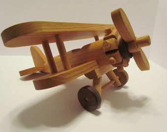 Wooden Airplane Large  Handmade toys   Red  Oak and  Walnut  hand finished with all natural Beeswax