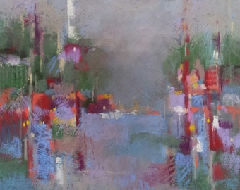 """Small Original Pastel Painting, Abstract,Cityscape, Landscape, 8 x 10"""", Unframed, Wall Art"""