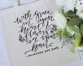 Handwritten Calligraphy style Floral Themed Party tote or Floral Design Workshop Swag Bag