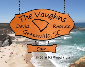 Etsy Family Name State Outline - Wooden Camping Sign with 1 add on - Personalized RV Sign Redwood JG Wood Signs RV Camping Sign Vaughn