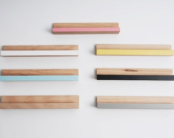 Display wall shelves, handmade in beech wood, pastel colours