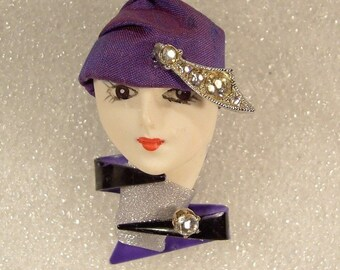 LADY HEAD Face Porcelain-Look Resin Brooch Pin Flapper Deco Diva rhinestones RS - Tanna