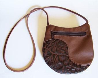 Brown Leather Purse with Lava Leather Trim - Medium Round Handbag - Festival Bag
