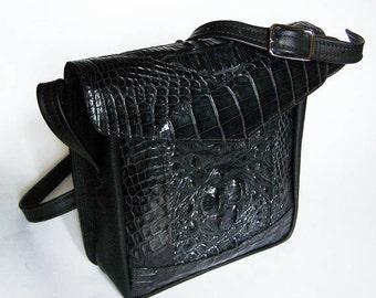 Black Alligator Handbag - Genuine Black Hornback Alligator Leather Purse
