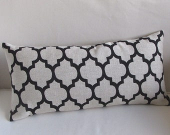 BLACK and cream decorative Geometric pillow 13x26