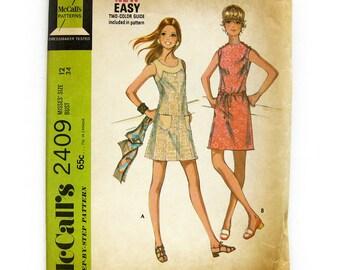 1970s Vintage Sewing Pattern - Sleeveless Mini Dress with Contrast Yoke / Knit Dress Pattern / Size 12 UNCUT FF