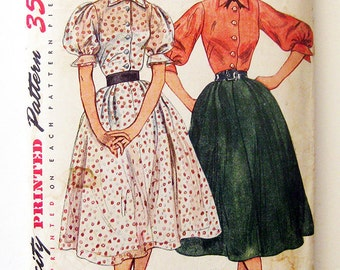 1950s Vintage Dress Pattern Gibson Girl Fashion Puff Sleeves Full Skirt Simplicity 3913 / Size 12 Bust 30