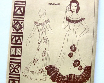 RARE 1950's Polynesian Sewing Pattern No. 107 Misses Long MuuMuu Holomuu Hawaiian Tiki Dress / Size 14 UNCUT