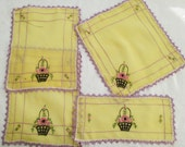 Vintage Linen Doily Dresser Table Scarf Embroidery Lace Crochet Edging Purple Lot 4
