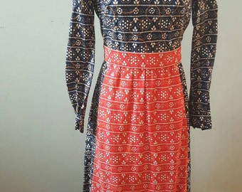 Vintage Blue Paisley Maxi Dress with Rhinestone Accents