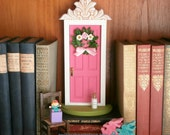 RESERVED for Kelly    Fairy Door or Tooth Fairy Door, made of wood, in bright pink, with architectural detail and handmade wreath