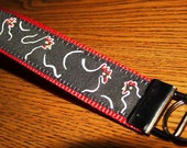 Chickens Embroidered Trim Key Fob Wristlet in Black and Red
