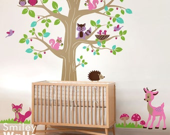 Woodland Animals Wall Decal, Forest Tree and Animals Wall Decal Sticker,Woodland Nursery Tree Wall Decal, Woodland Wall Decor for Baby Room