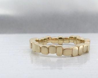 Carved blocks stacking ring 14kt gold wedding band