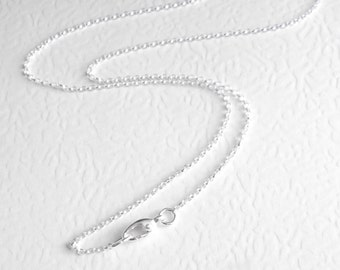 Short Sterling Silver Chain, Belcher Chain Choker, Thin 14 Inch Necklace, Trigger Free Clasp
