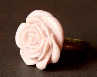 Pale Mauve Adjustable Rose Ring - Baby Pink Rose Bloom - Antique Brass Adjustable Ring