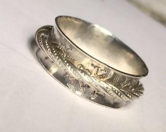 Dandelion Spinner/Spinner Ring/Fidget Ring/Silver Spinner/Dandelion Band/Worry Ring/Meditation Ring/Spinning Ring/Sterling Spinner Ring