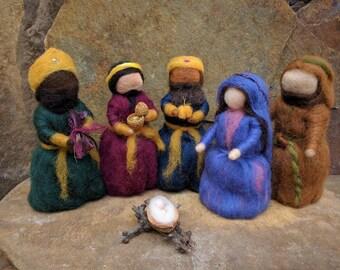 Nativity Set of Needle Felted Waldorf Style Puppets