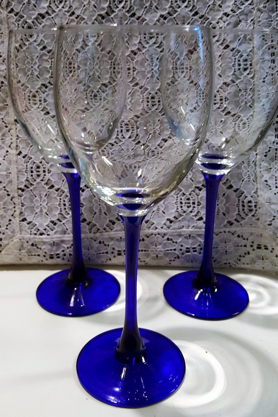 Set Of 3 Vintage Cobalt Blue Stem Wine Glasses