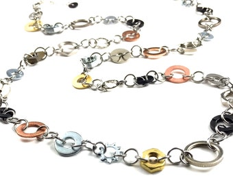 Long Statement Necklace Steampunk Mixed Metal Hardware Jewelry Industrial Strand Necklace