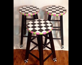 """Whimsical Painted Furniture, Painted bar stool, 24"""" or 29"""" hand painted custom round top wooden bar stool // counter stool - chair"""