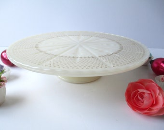 Vintage Milk Glass Gold Cake Stand Weddings Tea Parties