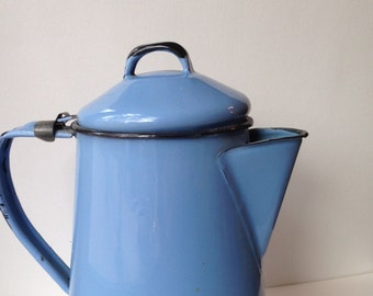 Vintage Cornflower Blue Enamel Ware Coffee Pot, Blue Granite Ware Coffee Pot