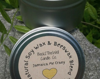 Soy Wax & Beeswax Candle 8 oz. Tin- Jamaica Me Crazy