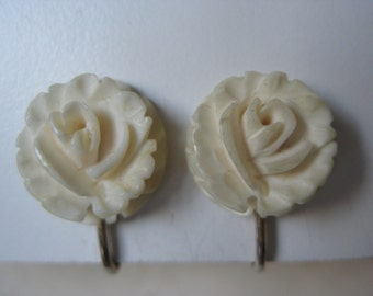 Rose Flower Earrings Clip Off White Gold Vintage Carved