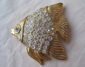 Fish Gold Rhinestone Brooch Vintage Pin