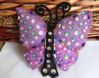 Large Sequin Felt BUTTERFLY BARRETTE Free Shipping USA