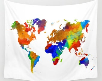 Wall Tapestry Wall Hanging Sofa Throw Design 33 Colorful World Map Watercolor Home Decor Art L