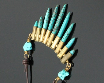 Spike Necklace with Brass Bullet Casings and Turquoise Magnesite Spikes on Leather Cord, Southwest Boho Wanderlust Jewelry - Outlaw