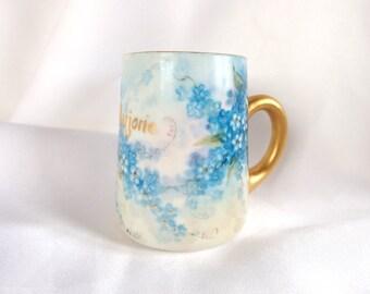 Vintage Hand Painted Blue Forget Me Nots Mug