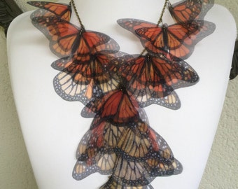 Migration - Handmade Monarch Silk Organza Butterflies Necklace - One of a Kind